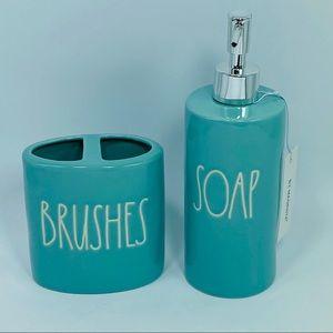 NEW Rae Dunn Blue BRUSHES Holder & SOAP Dispenser